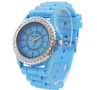Fashionable Quartz Wrist Watch with Blue Silicone Band Cool Watches Unique Watches
