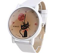 Relógio Estilo Gato com Bracelete Branca