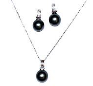 Black 14mm Freshwater Pearl With 925 Silver Necklace And Earrings Jewelry Set