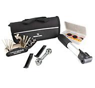 bicicleta bolsa de lona dupla sela com kit de manutenção de ferramentas e inflator (preto)