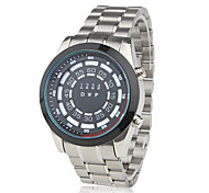Fashion Auto LED Steel Wrist Watch Black Dial
