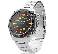 Men's Multifunction Alloy Digital LED Wrist Watch with Watch Case(Silver)