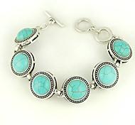 círculo de color turquesa y aleación de plata encanto pulsera de conmutación