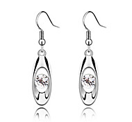 Fashionable Crystal and Platinum Plated Alloy Earrings
