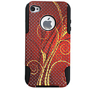 Floral Pattern Pattern Lagging Silicone and PC Case for iPhone 4 and 4S (Red)
