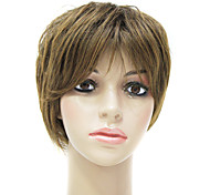 Capless Heat-resistant Fiber Short Straight Cool Brown Wig