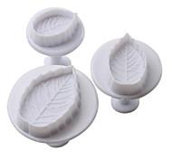 feuilles gâteau de motif et les cookies coupe moule avec piston (3 pièces)