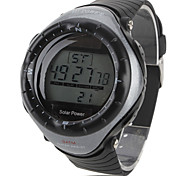 Unisex Multi-Functional Style Solar Power Rubber Digital Automatic Wrist Watch (Black) Cool Watch Unique Watch Fashion Watch