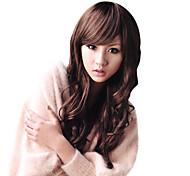 capless longo marrom médio peruca de cabelo ondulado