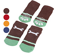 Dog Socks Casual/Daily Keep Warm Winter Spring/Fall Bone Red Orange Blue Brown Cotton