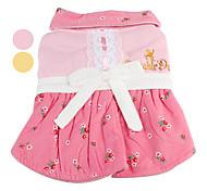 rosa modello bowknot abito di cotone per cani (XS-XL, colori assortiti)