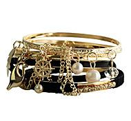 Women's Round Bangles Bracelet Alloy Imitation Pearl