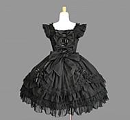 Sin mangas hasta la rodilla de algodón Negro Gothic Lolita vestido