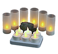 Warm Yellow Light LED Rechargeable Flameless Tea Light Candles (6-Pack)