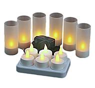 Luz Amarela quente LED recarregáveis velas sem chama Chá Luz (6-Pack)