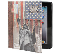 Statue of Liberty Pattern PU Leather Case with Stand for iPad 2/3/4