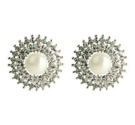 Lureme®Sunflower Pearl And Zircon Earrings