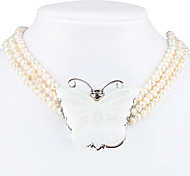 High Quality Cowry Butterfly Pattern Pendant for Women (White)