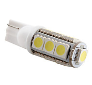 T10 0.12W 13x5050 SMD 6500-7000K Luz Blanca Bombilla LED para lámparas de coche (12V DC)