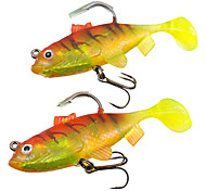 2 pcs Soft Bait Pink / Yellow g Ounce mm inch,Soft Plastic / Lead Sea Fishing / Freshwater Fishing / Bass Fishing