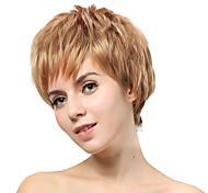 Sin tapa corto rubio recta pelucas sintéticas