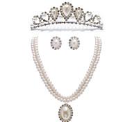 gorgeous Kristallen und Nachahmungen von Perlen Schmuck-Set, einschließlich Kette, Ohrringe und Tiara