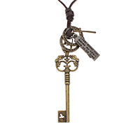 Key Many Parts Adjustable Leather Necklace