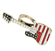 Crystal Inlaid Flag Pattern Guitar Double Loop Ring(Random Color)