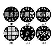 Flores de metal 1PCS 2D Nail Art Placa selo de imagem (cores sortidas, NO.31-36)