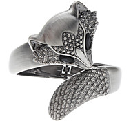 Z&X®  Gun Metal Color Black Fox Studded with Diamonds Bracelet