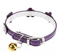Cat / Dog Collar With Bell / Flower Pink / Purple PU Leather