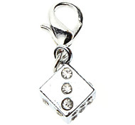 Dog tags Rhinestone Decorated Dice Style Collar Charm for Dogs Cats