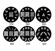1PCS 2D Metal Flowers Nail Art Image Stamp Plate (Assorted Colors,NO.37-42)