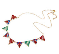 Inverted Triangle Alloy Ornaments Painted Necklace
