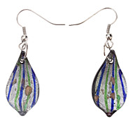 Leaf Shape Coloured Glaze Earrings