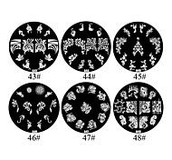 Flores de metal 1PCS 2D Nail Art Placa selo de imagem (cores sortidas, n ° 43-48)