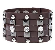 Панк Стиль Rivet бриллиантами кожаный браслет