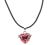 Necklace Pendant Necklaces Jewelry Thank You Daily Valentine Heart Heart Alloy Glass Gift Red