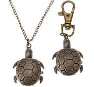 Unisex Turtles Style Alloy Analog Quartz Keychain Necklace Watch (Bronze)