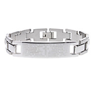 Letters Grain Stainless Steel Bracelet
