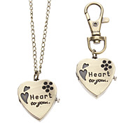 Unisex Heart-shaped Style Alloy Analog Quartz Keychain Necklace Watch (Bronze)
