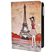 Mädchen und Eiffelturm-Muster PU Ledertasche w / stand für iPad Mini 3, iPad Mini 2, iPad mini