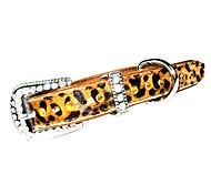Dog Collar Leopard / Rhinestone Gold Genuine Leather