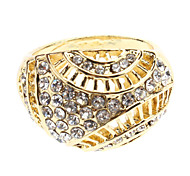 Olive Shaped Hollow Out Rhinestone Studded Ring (Assorted Color)
