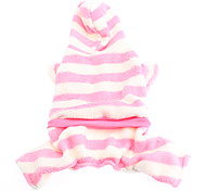 Baby Girl Style Pink and White Stripe Fleeces Hoddie for Dogs (XS-XL)