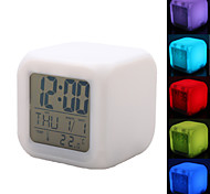 Colorful Glowing Cubic Digital Alarm Clock Calendar Thermometer (White, 4xAAA)