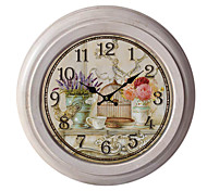 "12.75""H Elegant Floral Metal Wall Clock"
