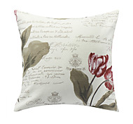 Modern Floral and Words Polyester Decorative Pillow Cover