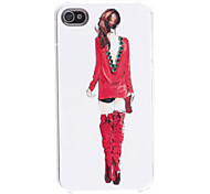 Modern Girl Pattern Hard Case for iPhone 4/4S