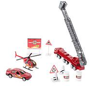 1:87 Firetruck Roadblock Elicottero 10 pezzi Mini Toy Pack (Modello: JP600, stile casuale)